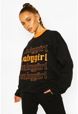 Black Baby Girl Oversized Sweatshirt