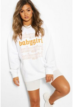 White Baby Girl Oversized Sweatshirt