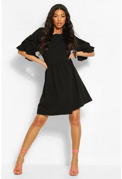 Black Extreme Ruffle Sleeve Smock Dress