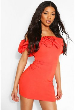 Orange Scuba Rouched Detail Bardot Mini Dress