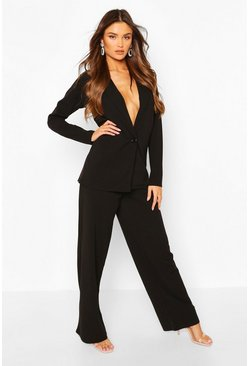 Black Oversized Blazer & Wide Leg Trouser Suit Set