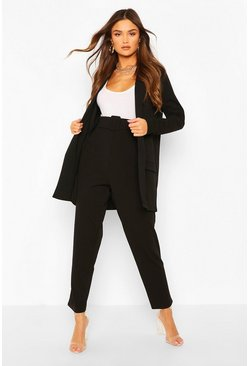Black Tailored Blazer & Self Fabric Belt Pants Suit Set
