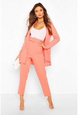 Coral Tailored Blazer & Self Fabric Belt Pants Suit Set