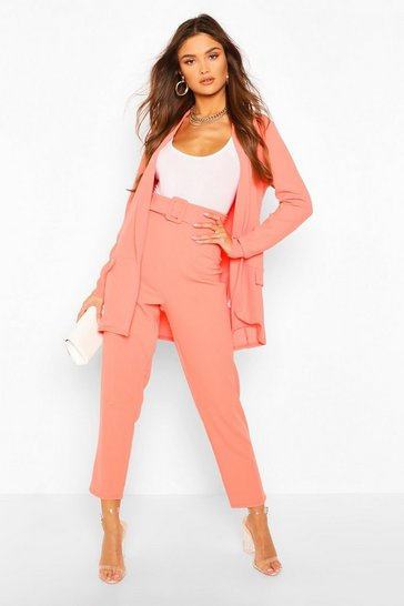 Coral pink Tailored Blazer & Self Fabric Belt Trouser Suit Set