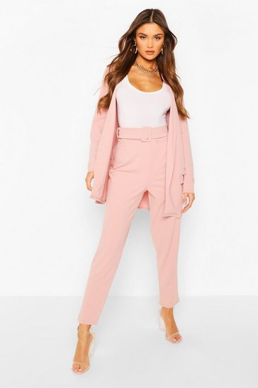 Pink Tailored Blazer & Self Fabric Belt Trouser Suit Set