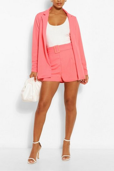 Coral pink Blazer & Self Fabric Belt Short Suit Set