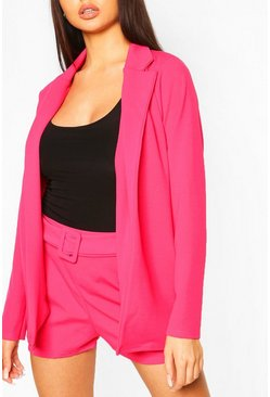 Hot pink Blazer & Self Fabric Belt Short Suit Set