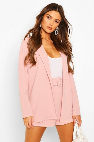 Pink Blazer & Self Fabric Belt Short Suit Set