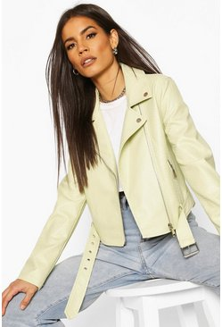 Lime green Faux Snake Skin Biker Jacket