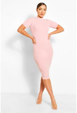 Blush pink High Neck Corset Waist Midi Dress