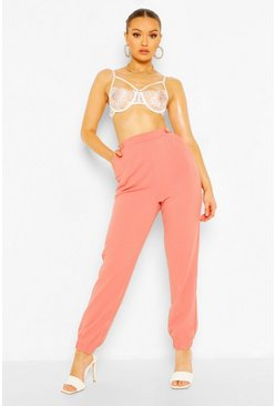 Dusky pink pink Tailored Crepe Jogger