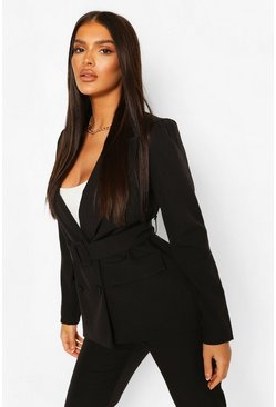 Black Double Breasted Belted Blazer