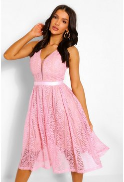 Pink Boutique All Lace Plunge Neck Midi Dress