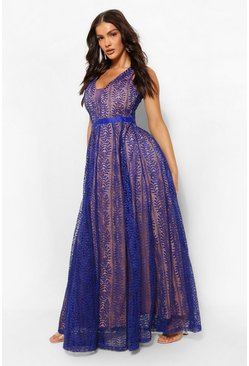 Navy Boutique All Lace Plunge Neck Maxi Dress