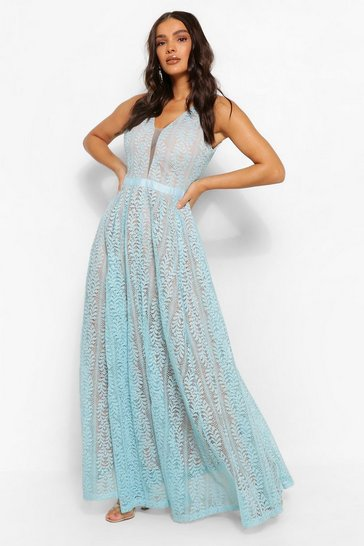 Sky blue Boutique All Lace Plunge Neck Maxi Dress