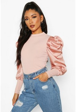 Blush pink Satin Puff Sleeve Ribbed Top