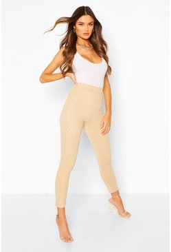 Camel beige Embossed Animal Legging