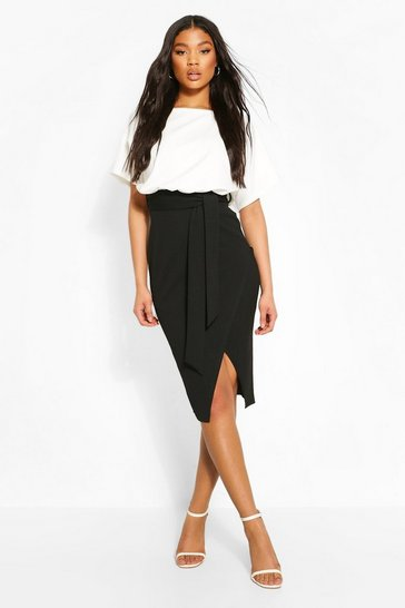 Black Colour Block Kimono Sleeve Midi Dress