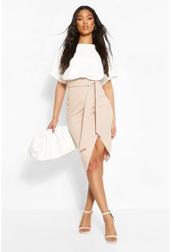 Stone beige Colour Block Kimono Sleeve Midi Dress