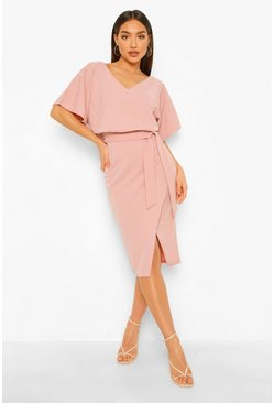 Blush pink Kimono Tie Belt Midi Dress