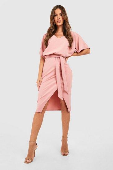 Blush pink Kimono Tie Belt Midi Dress