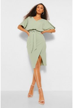 Sage green Kimono Tie Belt Midi Dress