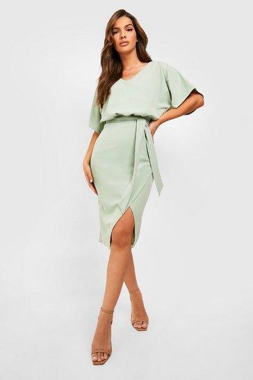 Sage green Kimono Tie Belt Midi Dress