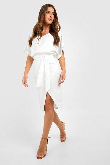 White Kimono Tie Belt Midi Dress
