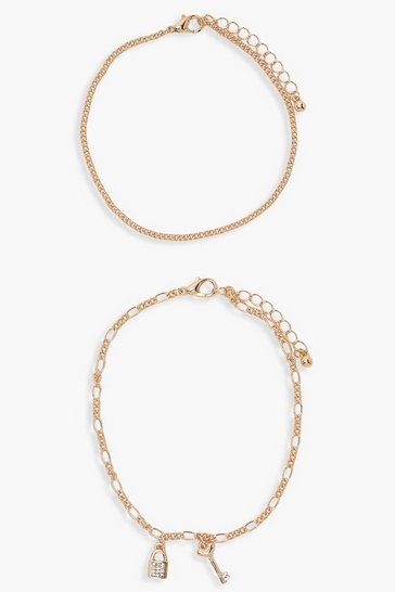Gold metallic Lock & Key Anklet 2 Pack