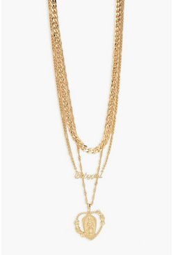 Gold metallic Babygirl & Heart Layered Necklace