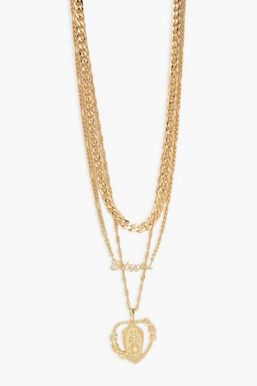 Gold Babygirl & Heart Layered Necklace