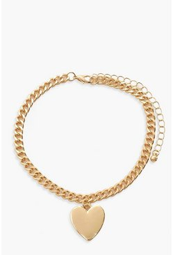 Gold metallic Heart Charm Anklet