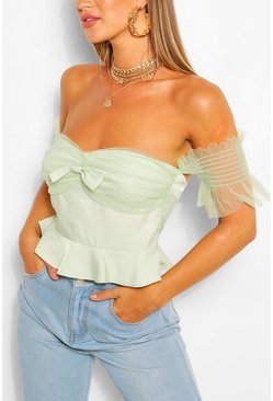 Sage Bow Ruffle Off The Sleeve Woven Top