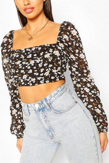 Black Woven Ditsy Ruched Crop Top