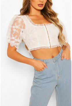 White Lace Hook + Eye Crop Top
