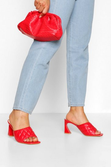 Red Quilted Square Toe Low Heel Mules