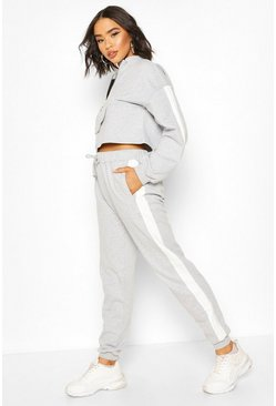 Grey Zip Front Crop Sweat & Jogger