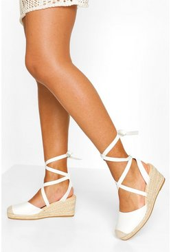 White Wrap Strap Espadrille Wedges