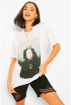 White Bob Marley Photo Print Oversized Licenced T-Shirt