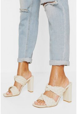 Cream white Woven Double Strap Block Heel Mules