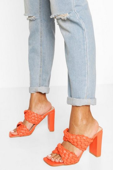 Orange Woven Double Strap Block Heel Mules