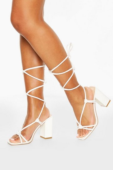 White Strappy Knot Detail Block Heels