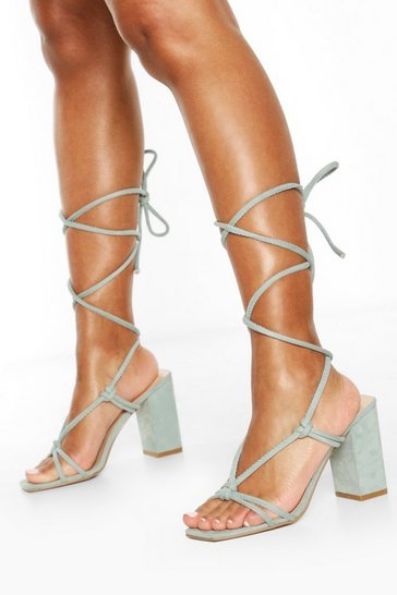 Sage green Strappy Knot Detail Block Heels