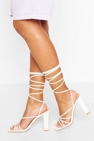 White Strappy Ankle Tie Block Heels