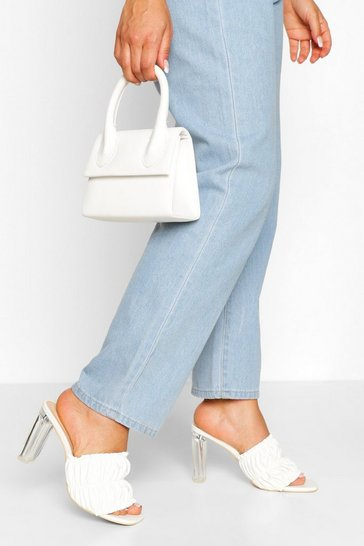 White Rouched Clear Heel Mules