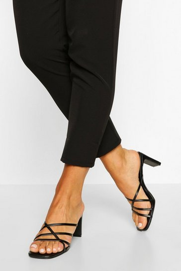 Black Cross Strap Flat Heel Mules