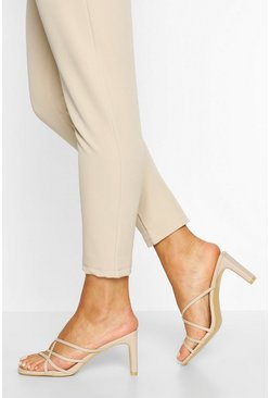 Cream Cross Strap Flat Heel Mules