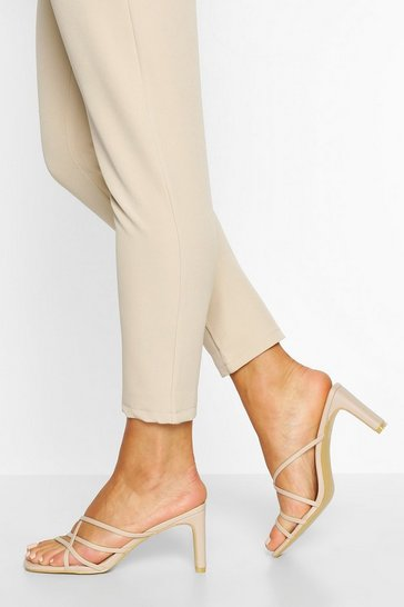 Cream white Cross Strap Flat Heel Mules
