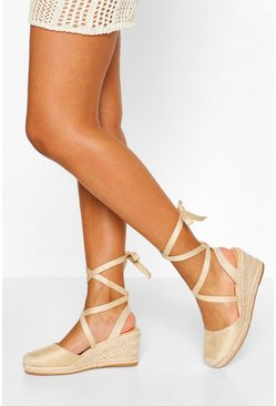 Nude Wrap Strap Espadrille Wedges