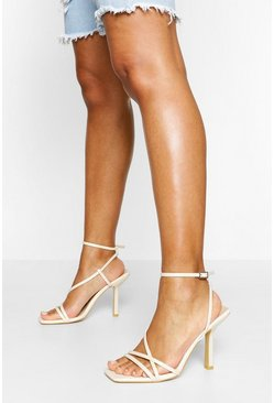 Cream Multi Strap Interest Heels